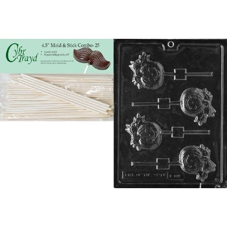 Cybrtrayd 45St25-H109 Pumpkin Lolly Halloween Chocolate Candy Mold with 25 4.5-Inch Lollipop Sticks](Jello Jiggler Molds Halloween)
