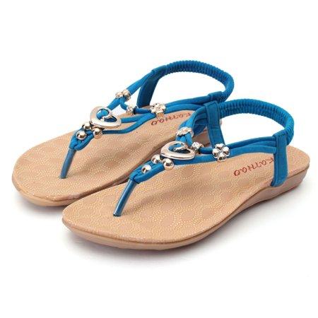f14428c5c Women Summer Shoes Beaded Flip Flops Sandals T strap Ankle Slipper Boho  Flat Shoes Women Shoes Size 9