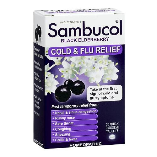 5 Pack Sambucol Black Elderberry Cold & Flu Relief Homeopathic 30 Tablets Each
