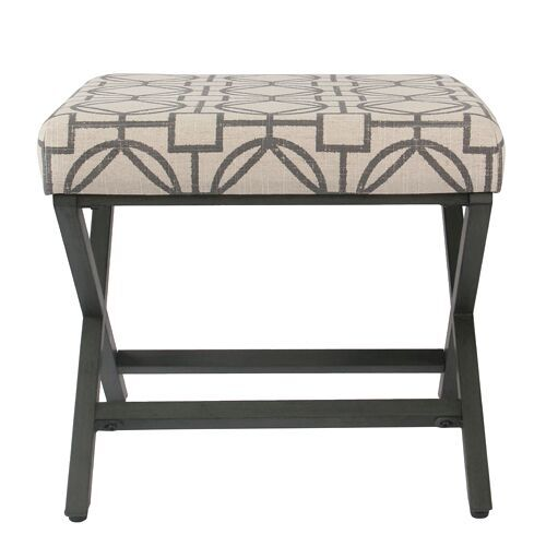 HomePop Decorative Square Ottoman with Metal Base, Multiple Colors