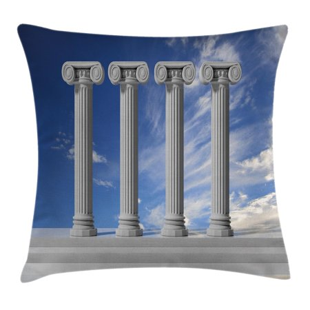Polar Cover - Pillar Decor Throw Pillow Cushion Cover, Historical Theme Four Ancient Marble Pillars and the Sky Digital Image, Decorative Square Accent Pillow Case, 18 X 18 Inches, Light Grey Blue, by Ambesonne