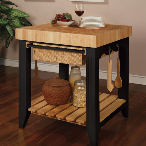 powell furniture color story prep table with butcher block