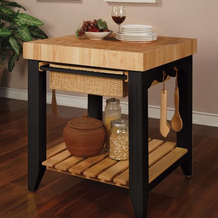 Powell Furniture Color Story Prep Table With Butcher Block Top