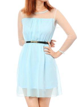 6f178290b7a237 Product Image Women s Sheer Mesh Yoke   Sleeve Dress with Belt