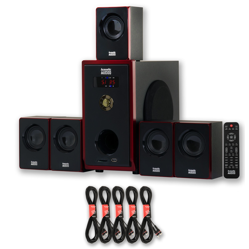 Acoustic Audio AA5103 Home Theater 5.1 Speaker System with 5 Extension Cables Surround Sound