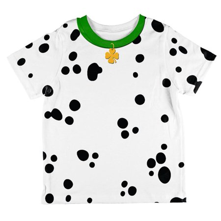 St Patrick's Day Dog Dalmatian Costume Green Collar Shamrock All Over Toddler T Shirt - Shamrock Costume