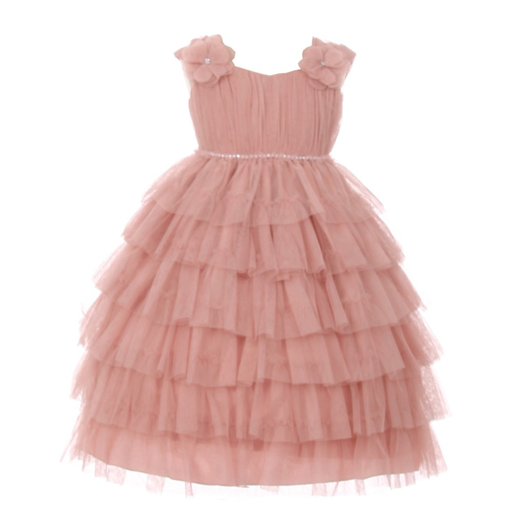 Baby Girls Rose Ruffle Tiered Rhinestone Flower Special Occasion Dress