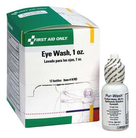 Personal Eye Wash Bottle,1 oz.,PK12 FIRST AID ONLY H703GR