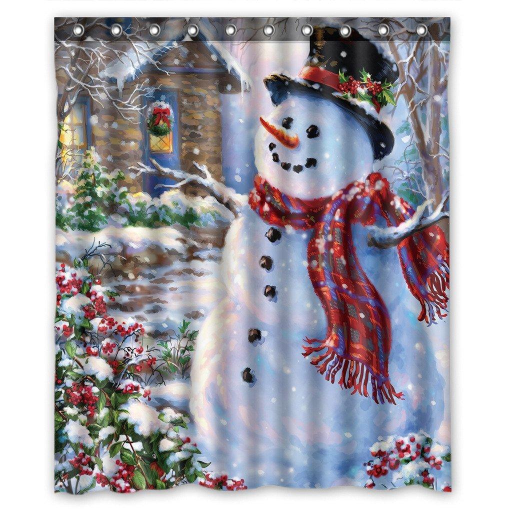 Gckg Christmas Snowman Xmas Santa Claude Waterproof Polyester Shower Curtain And Hooks Size 60x72 Inches