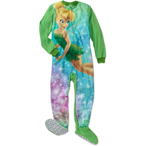 Disney Girls' Tinkerbell Footed Blanket Sleeper Pajamas