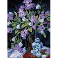 """Dimensions """"Tulips & Lilacs"""" Needlepoint Kit, 12"""" x 16"""""""