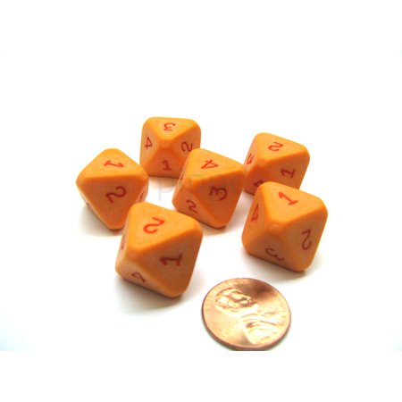Opaque Orange with Red Chessex D8 Die Numbered 1-4 Twice, 6 Dice