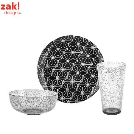 Zak Designs Batik Plates, Bowls & Tumblers Black & Bubbly , 12-piece set ()