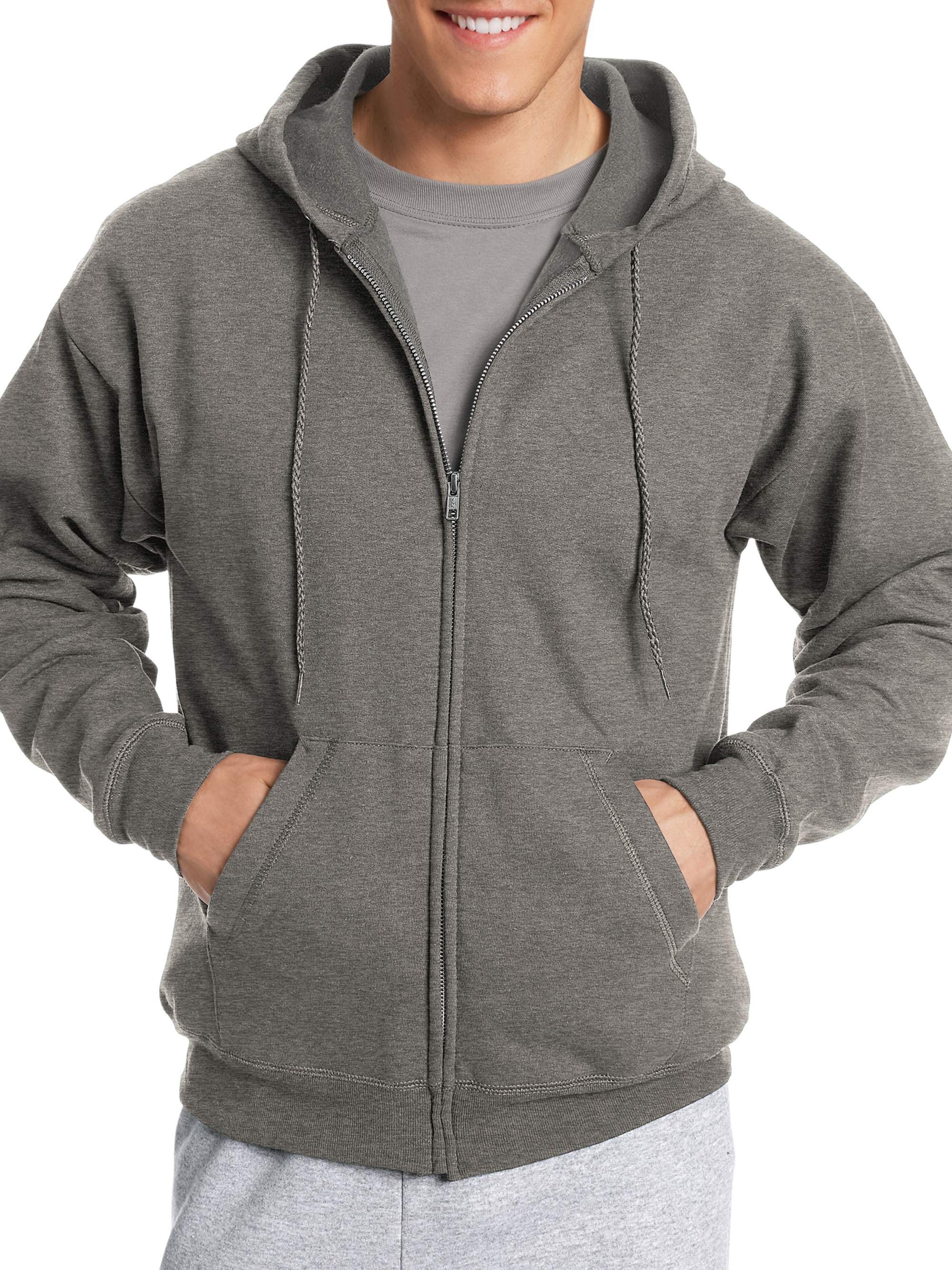 Big Men's EcoSmart Fleece Zip Pullover Hoodie with Front Pocket