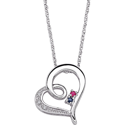 Personalized Women's Sterling Silver Couple's Diamond and Birthstone Heart Necklace
