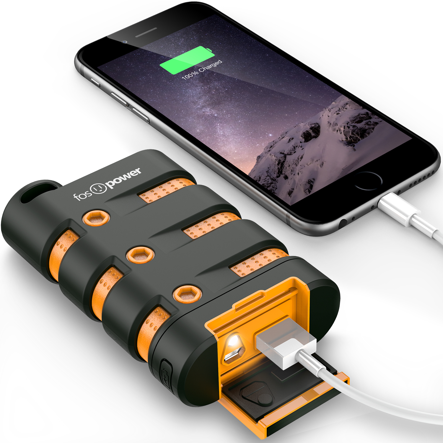 FosPower PowerActive 10200 mAh Power Bank - 2.1A USB Output [Water/Shock/Dust Proof] Rugged Heavy Duty Portable Battery Charger for iPhone/iPad, Android Smartphones, Tablets & MP3, Pokemon Go