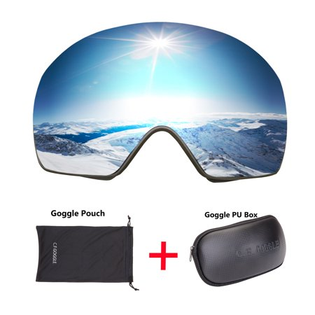 C.F.GOGGLE Ski Goggles, Winter Snow Sports Snowboard Over Glasses Goggles with Anti-Fog UV Protection Double Lens Snowmobile Skiing Skating Silver lens + Black