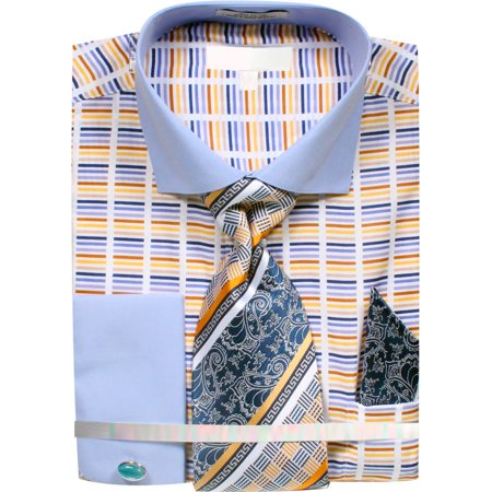 Men's Dress Shirt Broken Stripe Design French Cuffs Tie Hanky Cufflinks Blue Striped Cotton Dress Shirt