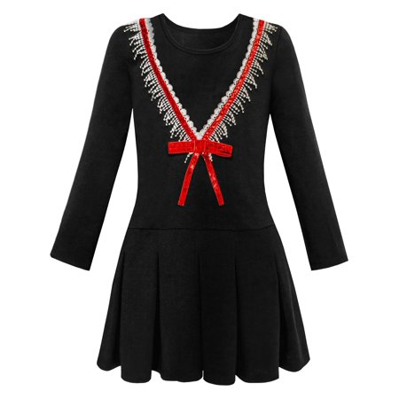 Design A Uniform (Girls Dress School Uniform Back School Long Sleeve Bow Tie Dress 4 )