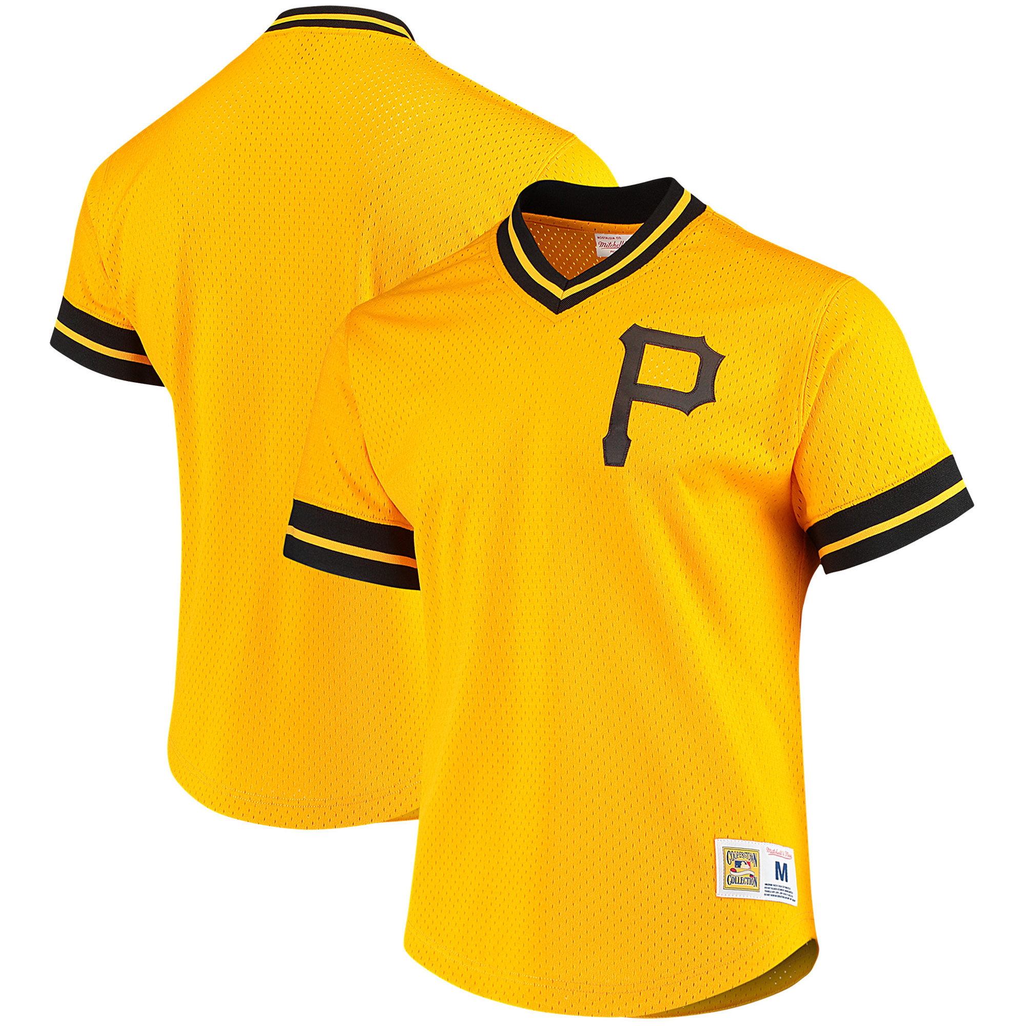 Pittsburgh Pirates Mitchell & Ness Mesh V-Neck Jersey - Gold