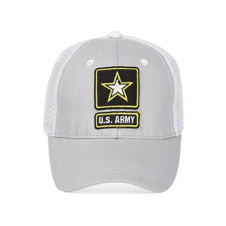 39a623b59ae United States Army Emblem Grey White Adjustable Trucker Hat - Walmart.com