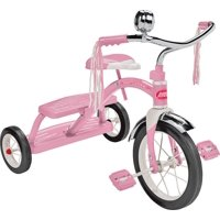 """Radio Flyer, Classic Pink Dual Deck Tricycle, 12"""" Front Wheel, Pink"""
