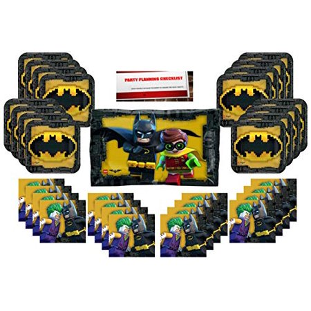 Lego Batman Party Supplies Bundle Pack for 16 (Plus 22