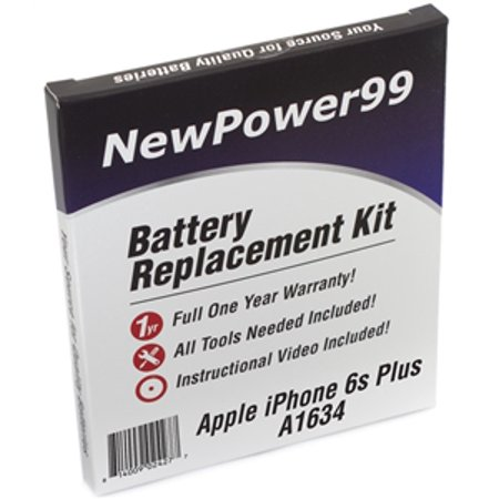 Apple iPhone 6s Plus A1634 Battery Replacement Kit with Tools, Video Instructions, Extended Life Battery and Full One Year