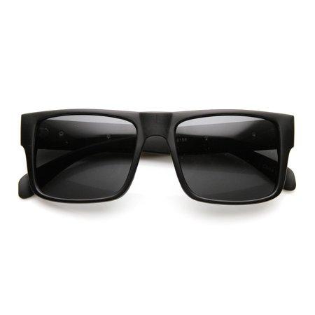 Super Retro Flat Top Metal Accent Chain Link Temple Square Sunglasses (Super Flat Top Groß)