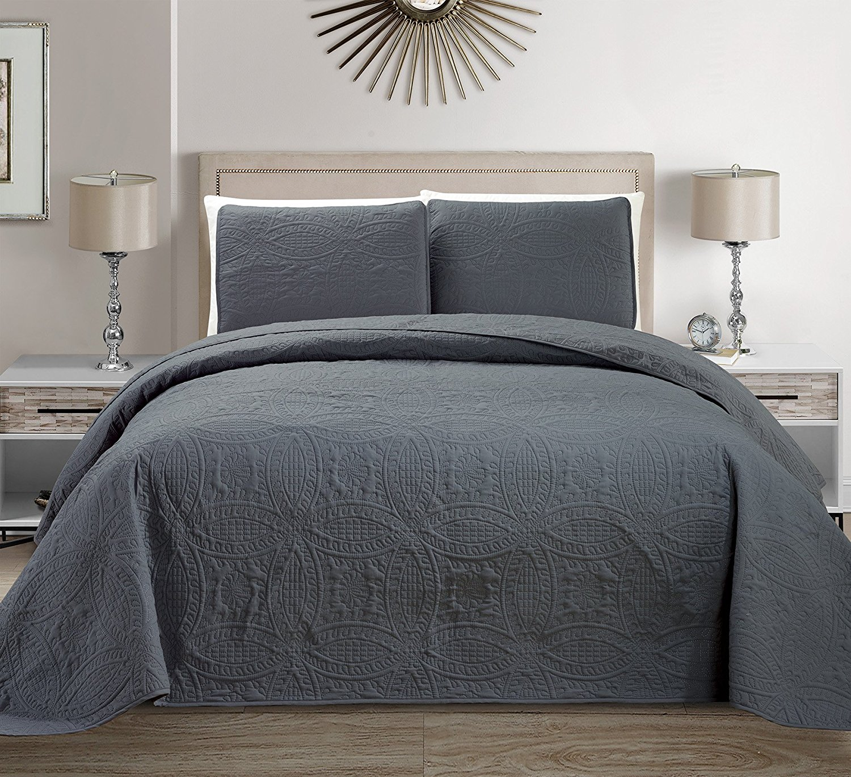 Fancy Linen 3pc Full/Queen Embossed Oversized Coverlet Bedspread Set Solid Dark Gray/Charcoal New # Austin