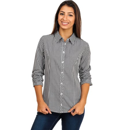 Womens Juniors Black And White Casual Cotton Plaid Button