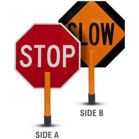 Traffic Signs - Stop / Slow Rigid Sign with Handle & Staff 10 x 7 Aluminum Sign Street Weather Approved Sign 0.04 Thickness