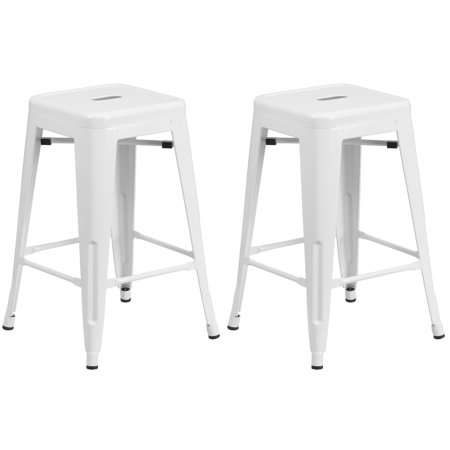 A Line Furniture Industrial Style White Galvanized Metal 24-inch Stool ()