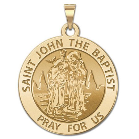 Saint John the Baptist Religious Medal - 1 Inch Size of a Quarter -Solid 14K Yellow Gold (Baptist Medal)
