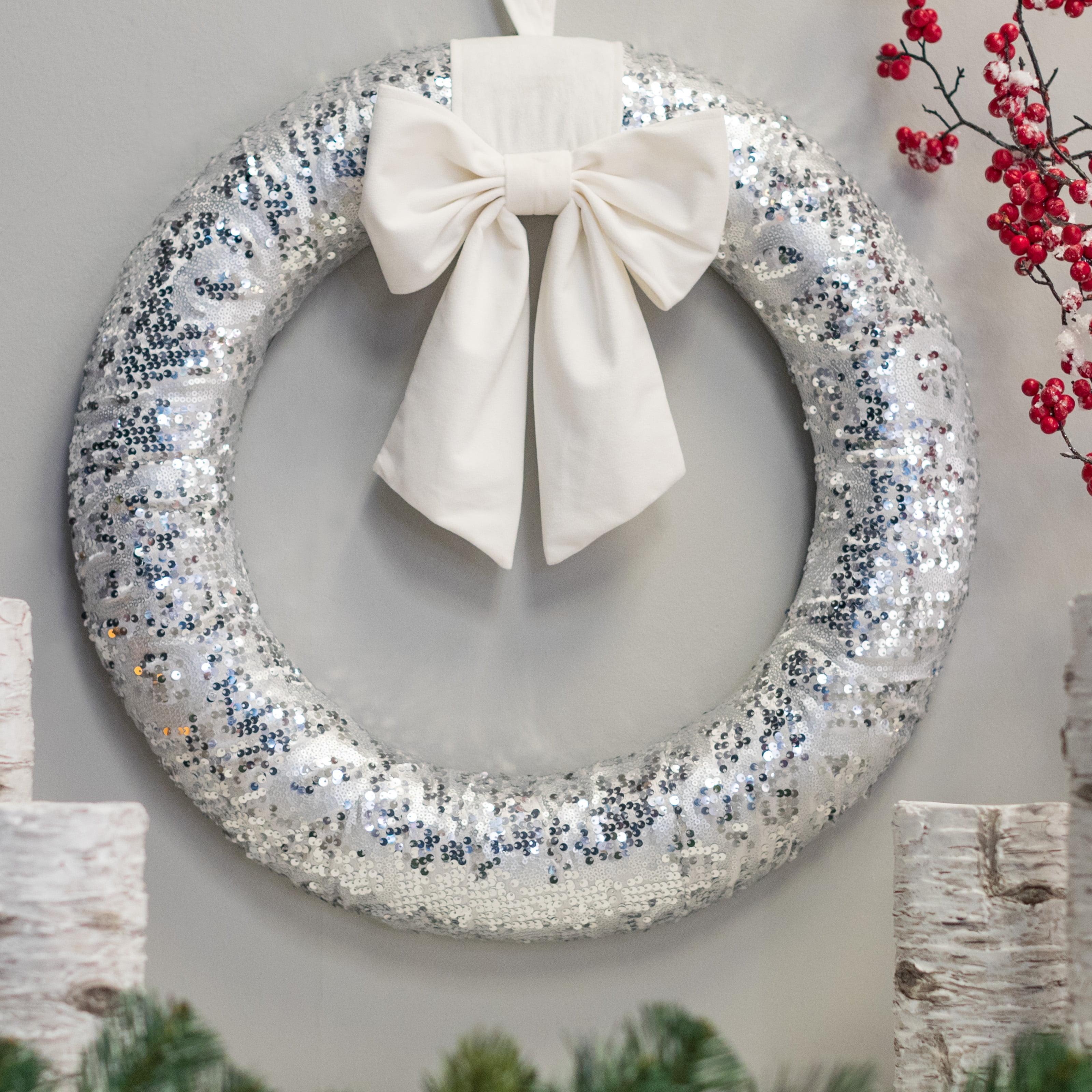 """Belham Living Glitter Christmas Wreath with White Satin Bow, 22"""" diameter"""