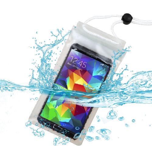 Premium Large-Sized T-Clear Waterproof Case Bag (with Lanyard) for Huawei Ascend Y300, Ascend W1, Y301 (Valiant), H881C (Ascend Plus), M866 (Ascend Y), M920 (Activa 4G), M865 (Ascend II), 536A, H867G