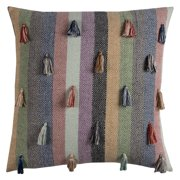 """Rizzy Home Decorative Poly Filled Throw Pillow Stripes With Tassels 20""""X20"""" Multi"""