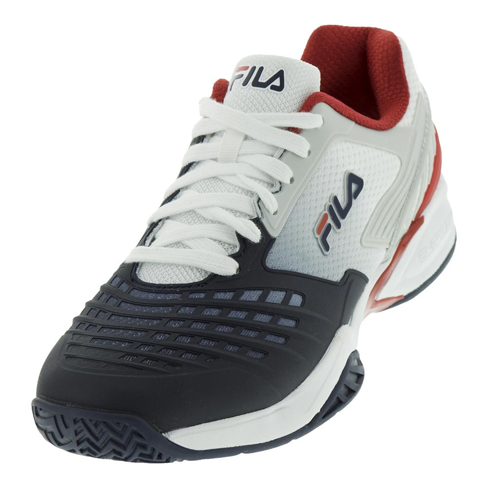 Men`s Axilus Energized Tennis Shoes White and Fila Navy by Fila