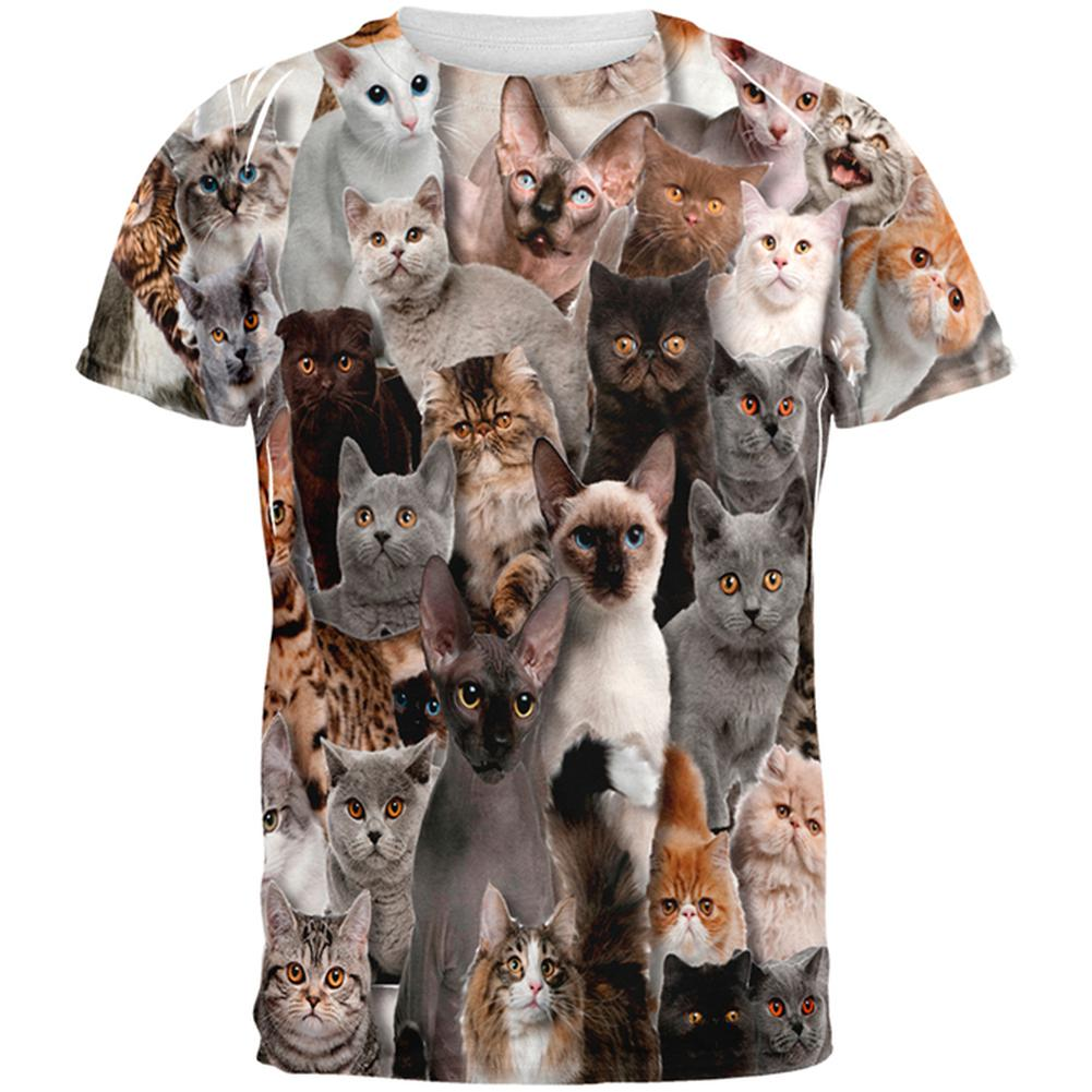 Novelty Crazy Cat All Over Adult T-Shirt