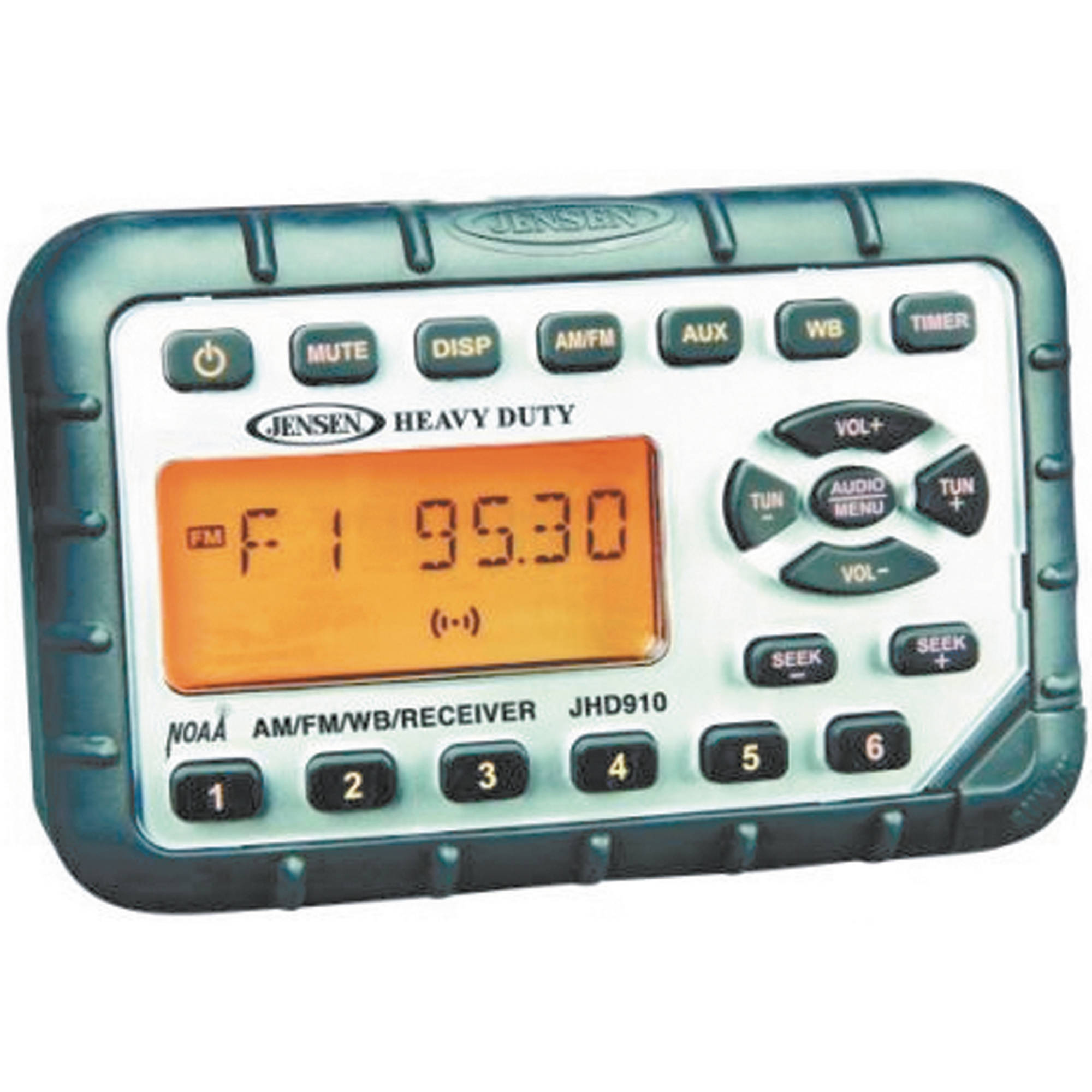 Jensen JHD910 Waterproof 12V DC Mini AM/FM/WB Marine Stereo with Audio Aux-In