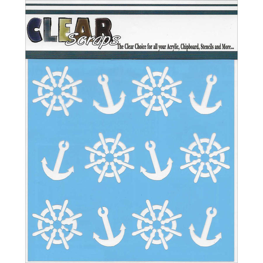 "Clear Scraps Stencils, 12"" x 12"", Anchors and Helms"