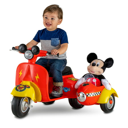 6-Volt Mickey Mouse Scooter with Sidecar Ride-On - Mickey Mouse Train