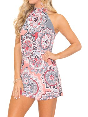 2d9f130129c7 Product Image Starvnc Women Crew Neck High Waist Sleeveless Floral Romper  Jumpsuit