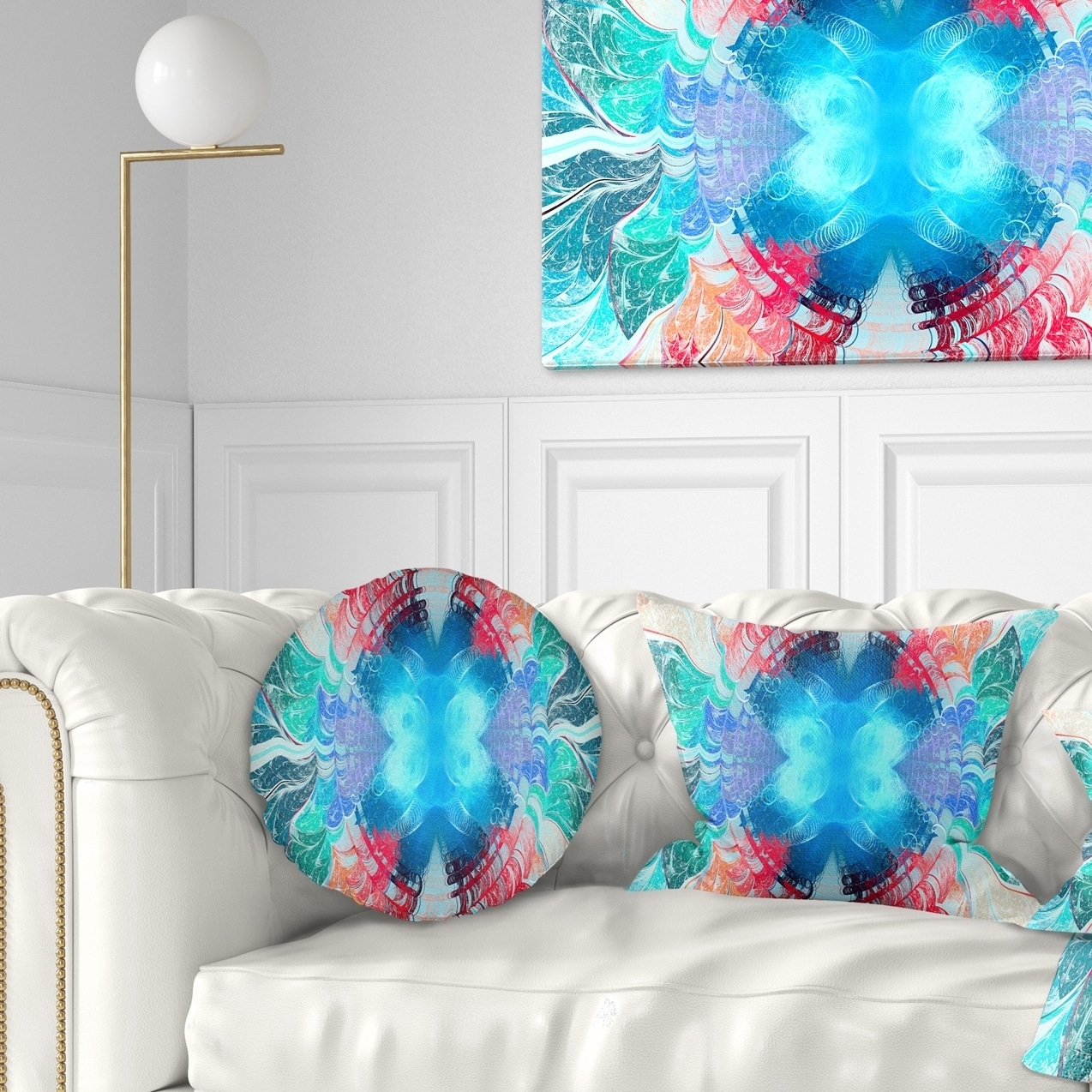 Design Art Designart Extraordinary Fractal Blue Texture Abstract Throw Pillow Walmart Com