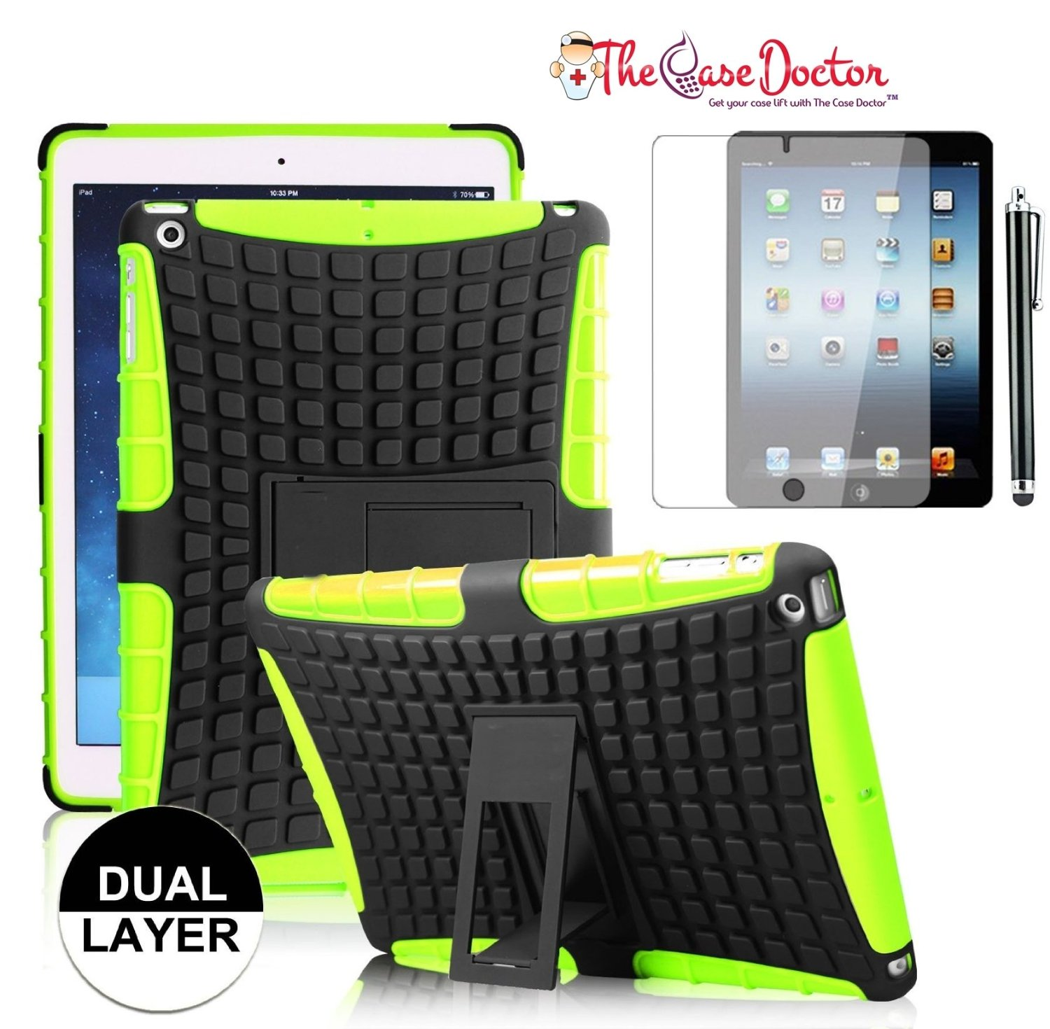 TCD iPad Air 1 Grenade Armor Hybrid Shield Case Dual Layer Protection with Kickst