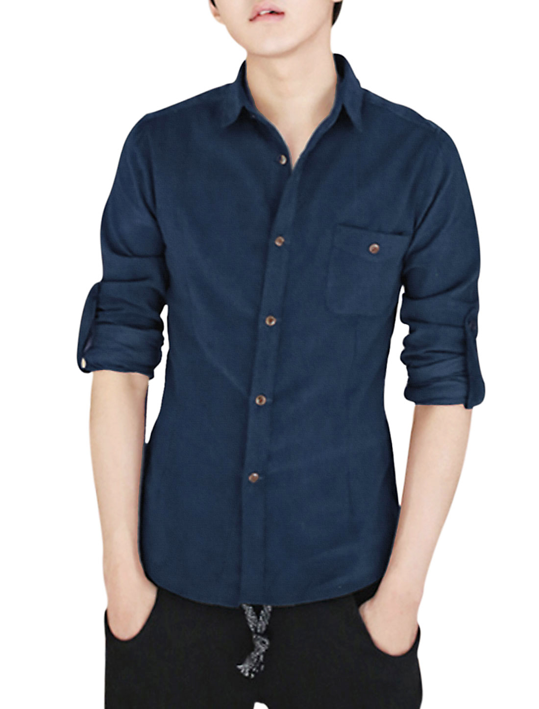 Men's Slim Fit Button Closed Point Collar Corduroy Shirt (Size S / 36)