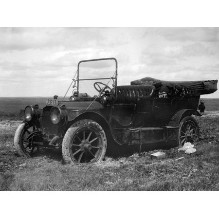 A Period Automobile Appears Stuck in the Mud, Ca. 1920. Print Wall Art By Kirn Vintage (1920 Vintage)