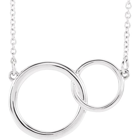 14k White Gold Polished Interlocking Circle Necklace - 2.6 (White Gold Interlocking Design)