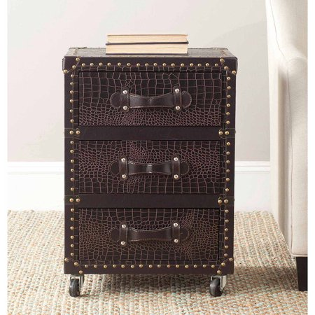 Safavieh Llyoyd 3 Drawer Rolling Chest, Black-Brown Croc Leather ()