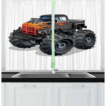 Strange Monster Truck Curtains 2 Panels Set Cartoon Truck Enormous Wheels And Flames On Front Body Window Drapes For Living Room Bedroom 55W X 39L Inches Home Interior And Landscaping Ologienasavecom